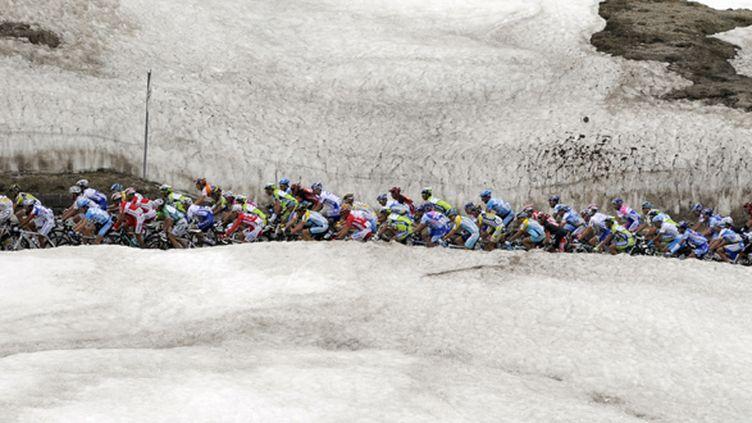 Peloton dans la neige (DAMIEN MEYER / AFP)