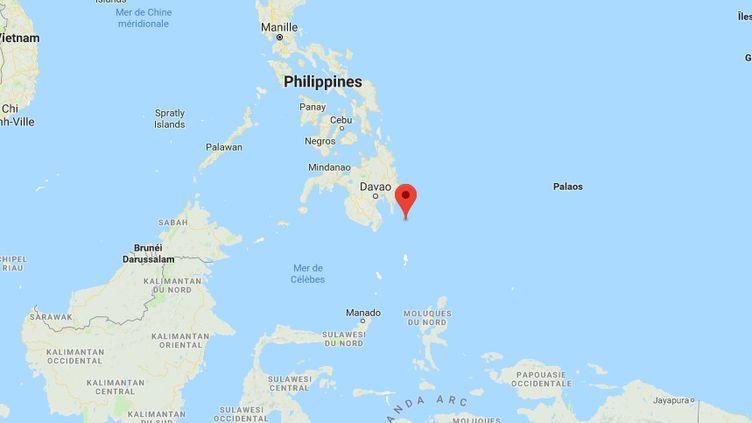L'épicentre du séisme qui a frappé les Philippines, samedi 29 décembre 2018 au matin. (GOOGLE MAPS)