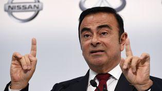 Carlos Ghosn lors de la présentation des résultats du groupe Nissan en 2015. (TOSHIFUMI KITAMURA / AFP)