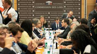 Yaël Braun-Pivet et Guillaume Larrivé, au centre et au dernier plan, le 24 juillet 2018 à la commission des lois de l'Assemblée nationale. (ROMUALD MEIGNEUX / SIPA)
