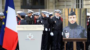 Cérémonie del'hommage national rendu mardi 25 avril 2017 au policier tué lors des attentats sur les Champs-Elysées. (BERTRAND GUAY / AFP)