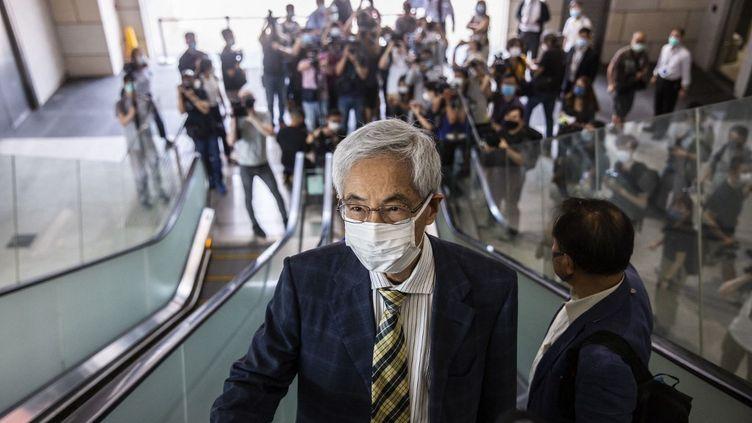 Martin Lee, une des figures de l'opposition pacifique à la mainmise de la Chine sur Hong-Kong, le 1er avril 2021. (ISAAC LAWRENCE / AFP)