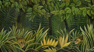 """""""Deux lions à l'affût dans la jungle"""" du Douanier Rousseau (détail)  (Hôtel des ventes de Monte-Carlo)"""