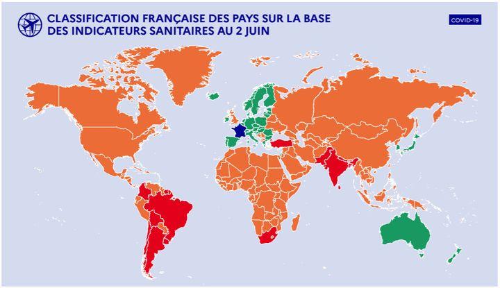 Carte du monde affichant la classification française des pays en fonction de la circulation du Covid-19 sur leur territoire, au 2 juin 2021. (GOUVERNEMENT)