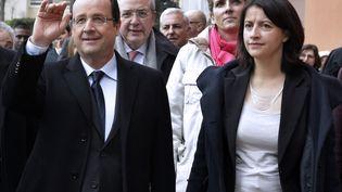 Francois Hollande,Jean-Paul Huchon,Delphine Batho etCecile Duflot, le 21 mars 2013 à Alfortville (Val-de-Marne). (JACKY NAEGELEN / POOL)