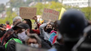 Des manifestants dans le cortège à Rouen, le 26 septembre 2020, un an après l'incendie de l'usine Lubrizol. (LOU BENOIST / AFP)