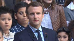 Le chef de l'Etat, Emmanuel Macron, à l'occasion de la cérémonie du 170e anniversaire de l'abolition de l'esclavage, au Panthéon (Paris), le 27 avril 2018. (FRANCEINFO)
