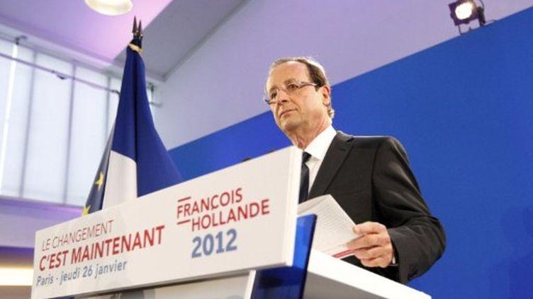 François Hollande à la Maison des métallos (jeudi 26 janvier 2012) (AFP)