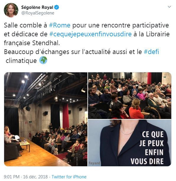 """Tweet de Ségolène Royal le 16 décembre 2018 lors d'une dédicace de son livre """"Ce que je peux enfin vous dire"""", à Rome. (CAPTURE D'ECRAN TWITTER)"""