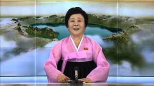 Ri Chun-hee annonce un nouvel essai nucléaire nord-coréen, le 3 septembre 2017 en direct à la télévision. (HANDOUT / KCTV / AFP)
