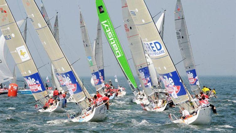 Les bateaux du Tour de France à la voile (FRANCOIS LO PRESTI / AFP)