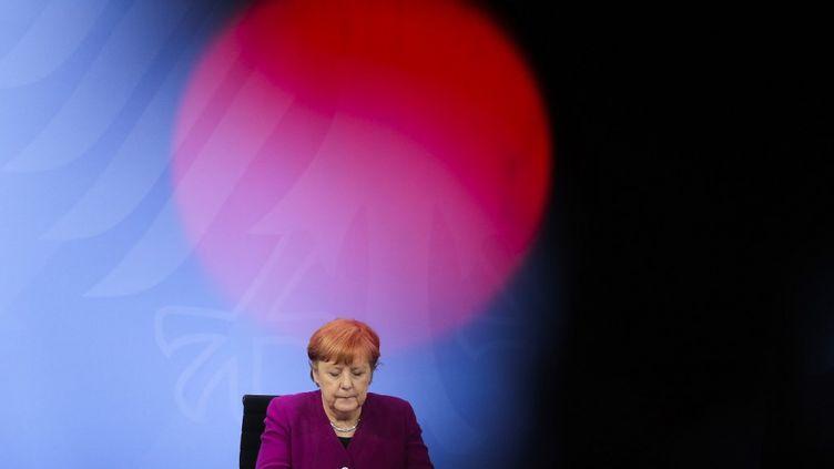La chancelière Angela Merkel lors d'une conférence de presse à Berlin (Allemagne), le 3 mars 2021. (MARKUS SCHREIBER / POOL / AFP)