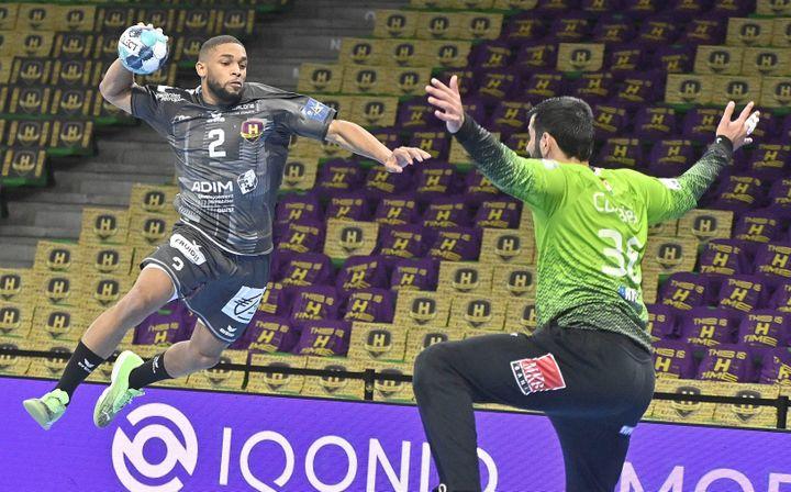 Le Nantais Baptiste Damatrin lors du quart de finale aller de Ligue des champions contre Veszprem, le 13 mai 2021. (JEROME FOUQUET / MAXPPP)