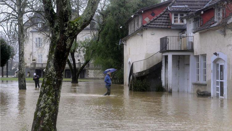 Une rue d'Idron (Pyrénées-Atlantiques) inondée, le 25 janvier 2014. (LUKE LAISSAC / AFP)