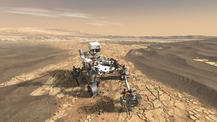 Représentation d'artiste du futur Mars 2020 rover sur la surface de Mars. (NASA  / MAXPPP)