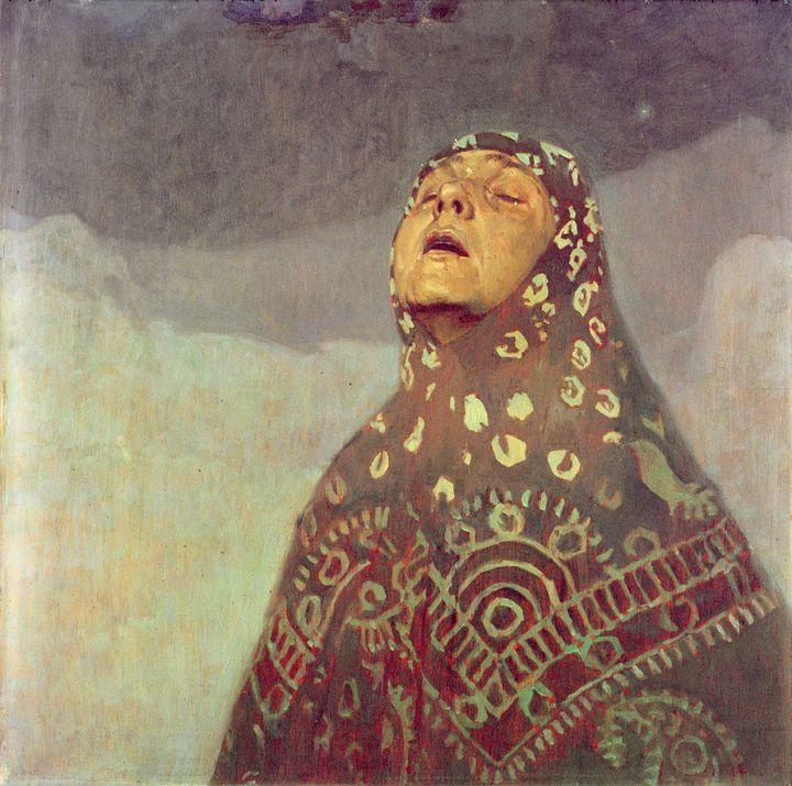 """Alphonse Mucha, """"Etude pour Femme dans le désert"""", c. 1923, huile sur toile, Fondation Mucha, Prague  (Mucha Trust 2018)"""