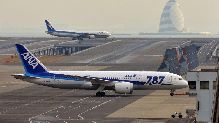 Un Boeing 787 de la compagnie japonaiseAll Nippon Airways (ANA), sur le tarmac de l'aéroport de Tokyo (Japon), le 16 janvier 2013. (YOSHIKAZU TSUNO / AFP)