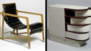 Eileen Gray - A gauche : fauteuil Transat, à droite Cabinet à tiroirs pivotants, 1926-29, meubles provenant de la maison E 1027, Centre Pompidou, Musée national d'art moderne  (Centre Pompidou / photos Jean-Claude Planchet)