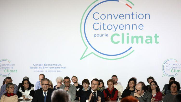 Le président de la République, Emmanuel Macron, à la Convention citoyenne pour le climat à Paris, le 10 janvier 2020. (POOL/STEPHANE LEMOUTON /MAXPPP / MAXPPP)