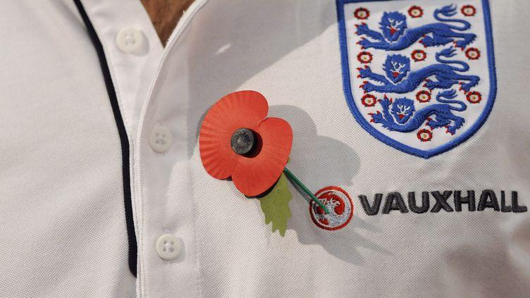 """Le capitaine de l'équipe d'Angleterre, Frank Lampard, porte un """"poppy"""" sur son maillot, en souvenir des soldats britanniques morts pour la patrie. Ce coquelicot au coeur d'une controverse avec la FIFA. (Nigel Roddis / REUTERS)"""