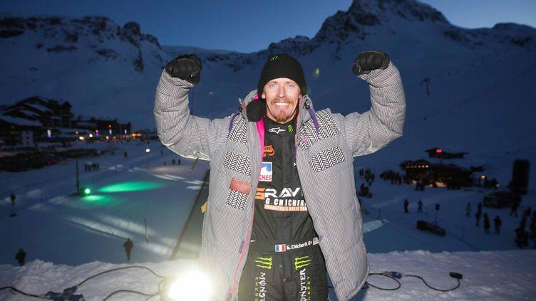 le 17 février 2013 à Tignes(Savoie ),Guerlain CHICHERITavaitréussi l'exploit unique au monde de faire un back-flip avec une voiture . (MAXPPP)