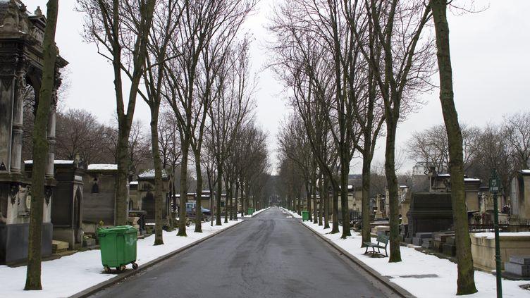 De la neige dans le cimetière du Montparnasse, à Paris, le 25 mars 2013. (JACQUES LOIC / AFP)