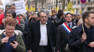 Le philosopheAlain Finkielkraut lors d'une marche en la mémoire de Mireille Knoll, à Paris, le 28 mars 2018. (MICHEL STOUPAK / NURPHOTO / AFP)