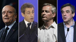 De gauche à droite : Alain Juppé, maire (LR) de Bordeaux, Nicolas Sarkozy, président du parti Les Républicains, Bruno Le Maire, député (LR)de l'Eure, et François Fillon, député (LR) de Paris. (AFP)
