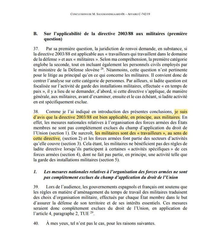 Un extrait des conclusions de l'avocat général près la CJUE (CAPTURE D'ECRAN CJUE)