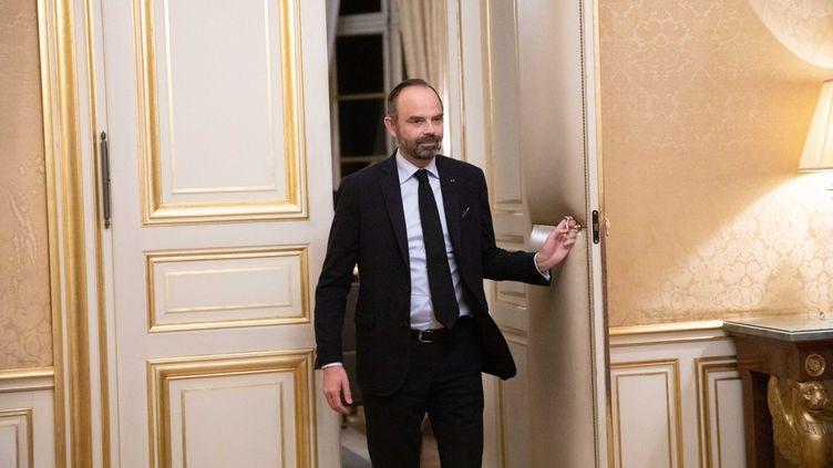 Edouard Philippe à Matignon lors des entretiens avec les partenaires sociaux sur la réforme des retraites, le 18 décembre. (CHRISTOPHE MORIN / MAXPPP)