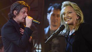 Benjamin Biolay et Véronique Sanson, favoris des Victoires de la Musique 2017.  (Caroline Paux / Citizenside - Bertrand Guay / AFP)