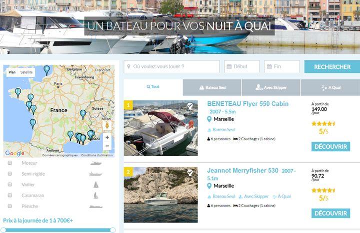 Le site de l'une des plateformes spécialisées dans la location de bateaux à quai entre particuliers. (CAPTURE D'ÉCRAN / SAMBOAT.FR)