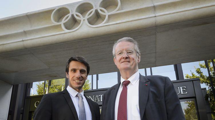 Tony Estanguet et Bernard Lapasset, les deux chevilles ouvrières de la candidature parisienne aux JO 2024 (FABRICE COFFRINI / AFP)