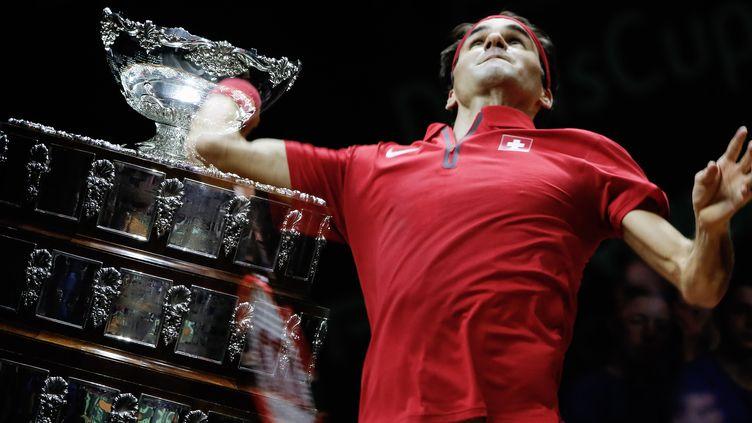 Roger Federer, l'un des héros de la finale de Coupe Davis. (STEPHANE ALLAMAN / ST?PHANE ALLAMAN)