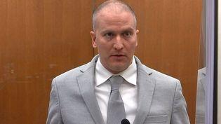 L'ex-policierDerek Chauvin, le 25 juin 2021 dans le Minnesota. (POOL VIA COURT TV / AFP)