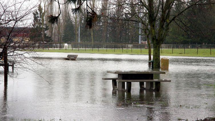 Un parc inondé après des intempéries à Cattenom (Moselle), le 20 janvier 2018. (MAXPPP)