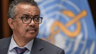Le directeur général de l'Organisation mondiale de la santé (OMS),Tedros Adhanom Ghebreyesus, lors d'une conférence de presse à Genève (Suisse), le 3 juillet 2020. (FABRICE COFFRINI / POOL / AFP)