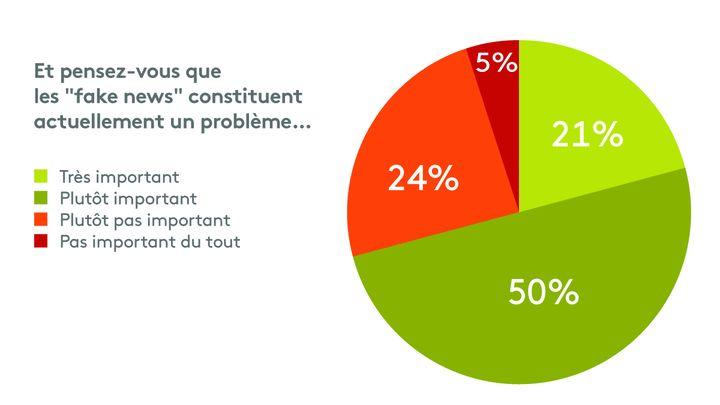 """50% des personnes interrogées pensent que les """"fake news"""" constituent actuellement un problème, selon un sondage Odoxa Dentsu Consulting pour franceinfo et """"Le Figaro"""", publié le 11 janvier 2018. (FRANCEINFO / RADIO FRANCE)"""