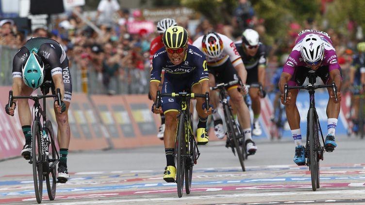 L'Australien Caleb Ewan remporte le sprint (LUK BENIES / AFP)