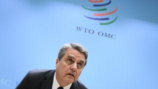 Le directeur général de l'OMC, Roberto Azevedo, le 10 décembre 2019 à Genève (Suisse). (FABRICE COFFRINI / AFP)