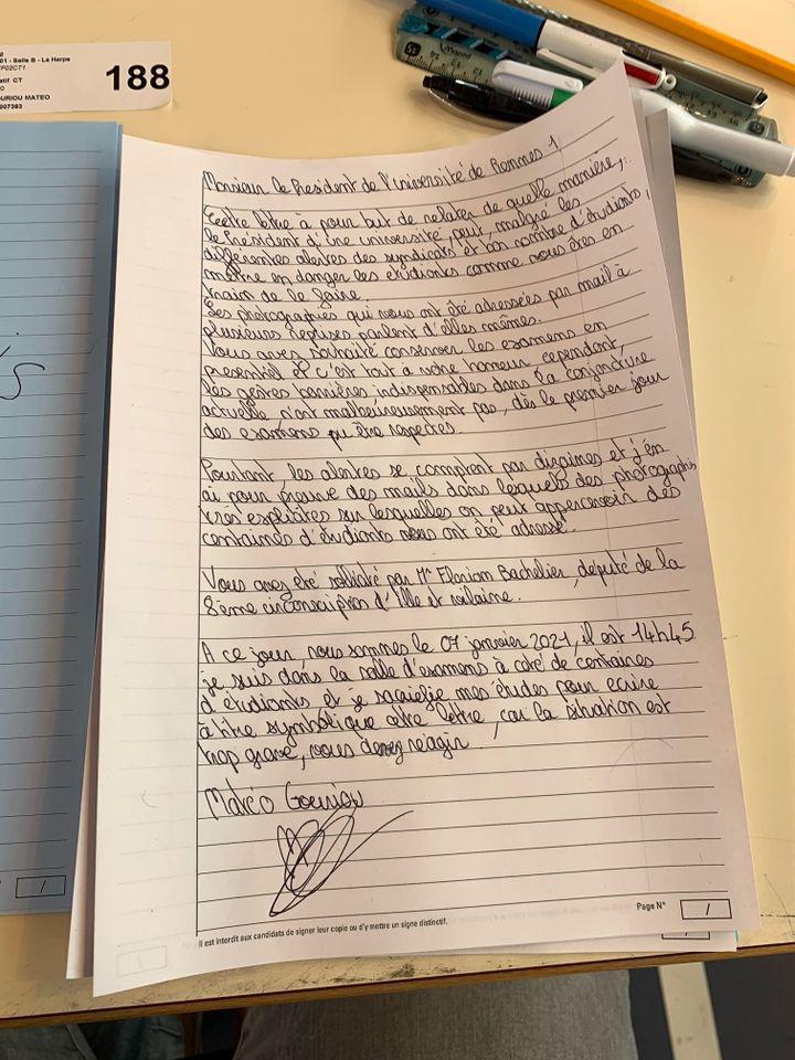 Matéo, étudiant, a rédigé sur sa copie un courrier à l'intention du président d'université Rennes 1, afin de l'alerter sur sa situation, le 7 janvier 2021. (MATEO GOURIOU)