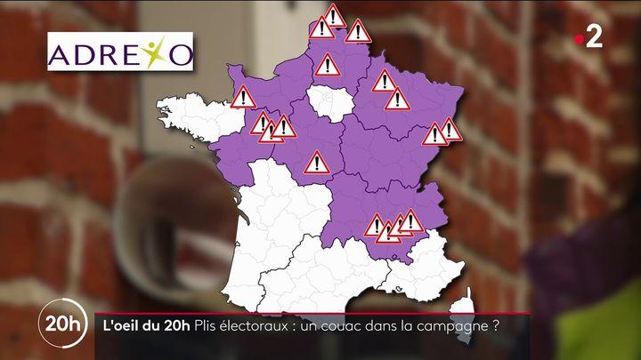 Carte des problèmes de distributions de plis électoraux dans les sept régions gérées par Adrexo (L'OEIL DU 20 HEURES / FRANCE 2)