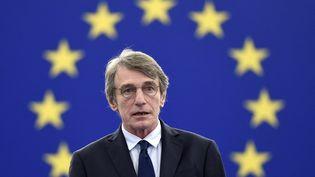 Le président du Parlement européenDavid Maria Sassoli à Strasbourg, le 14 décembre 2020. (FREDERICK FLORIN / AFP)