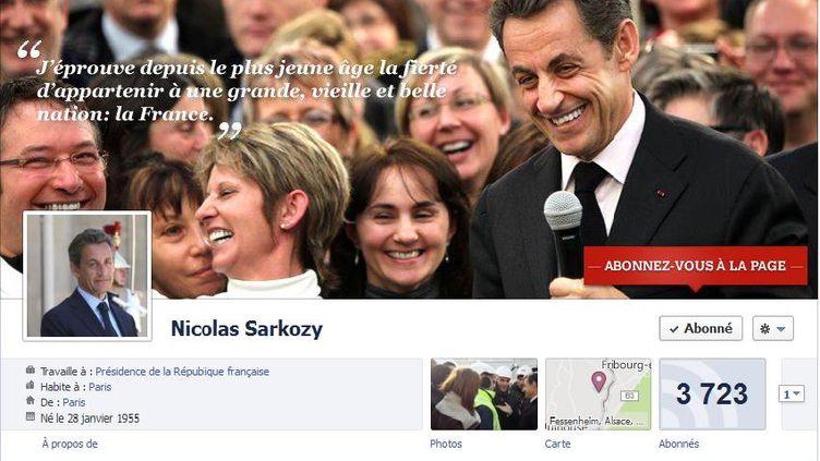 Capture d'écran du nouveau profil Facebook de Nicolas Sarkozy (DR)