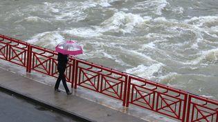 Une femme traverse un pont àPont-de-Roide (Doubs), le 4 janvier 2018. (MAXPPP)