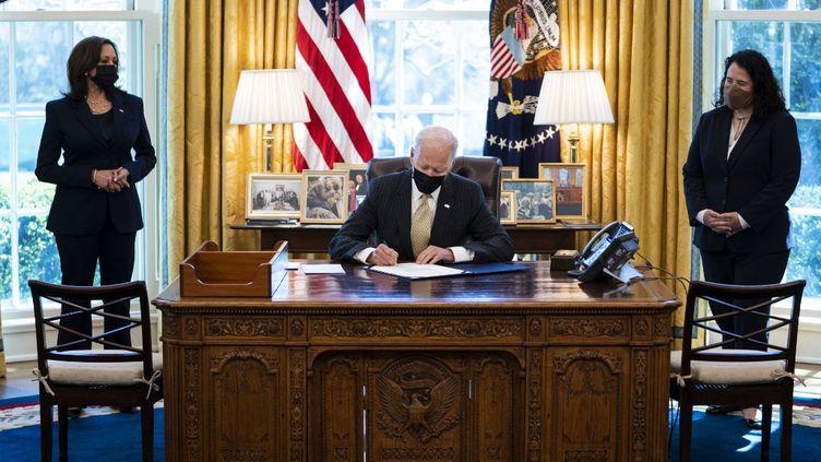 Le président américain, Joe Biden, à la Maison-Blanche, le 30 mars 2021. (POOL / GETTY IMAGES NORTH AMERICA / AFP)