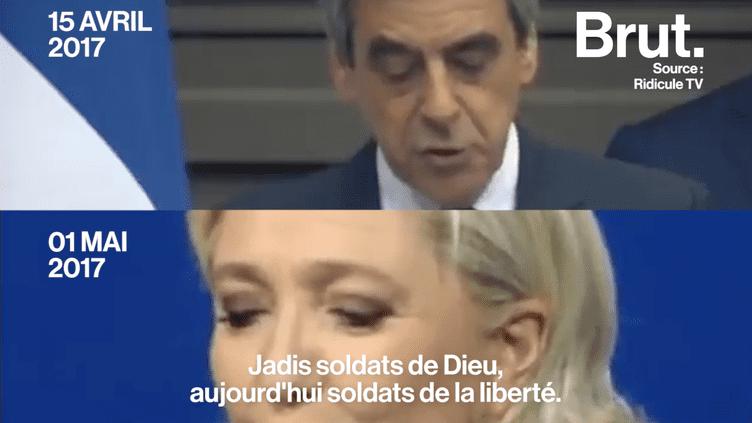 """Le 1er mai Marine Le Pen a plagié une partie du discours de François Fillon du 15 avril dernier. Vivement critiqué, le Front National parle d'un """"clin d'oeil"""". Pourtant, dès qu'un adversaire politique reprend une idée du parti frontiste, il se fait blâmer.  (Brut)"""