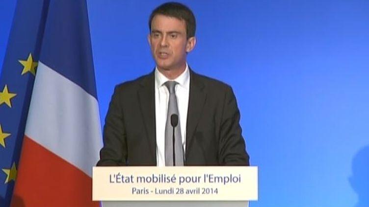 Capture d'écran, Paris, le 28 avril 2014, discours sur lepacte de responsabilité à la Maison de la Chimie (FRANCE TELEVSIONS / FRANCETV INFO)