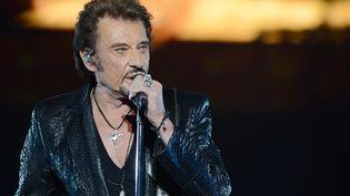 Johnny Hallyday en 2012 lors d'un concert à Moscou. (NATALIA KOLESNIKOVA / AFP)