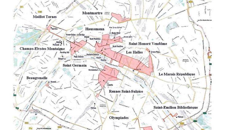 Capture écran de la carte du projet des 12 futures zones touristiques internationales à Paris. (MINISTERE DE L'ECONOMIE / FRANCETV INFO)